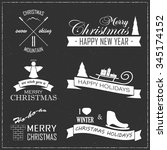 set of christmas badges and... | Shutterstock .eps vector #345174152