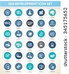 seo development icon set blue... | Shutterstock .eps vector #345175652