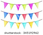 triangle flags on the strings... | Shutterstock .eps vector #345192962