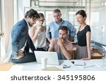office meeting  everybody is... | Shutterstock . vector #345195806