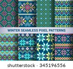 collection of pixel bright... | Shutterstock .eps vector #345196556
