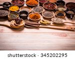 spices and herbs on wooden... | Shutterstock . vector #345202295
