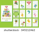 calendar 2016. cute owls  and... | Shutterstock .eps vector #345212462