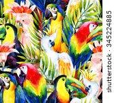 watercolor parrots seamless...   Shutterstock . vector #345224885
