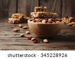 cereal bar with almond and... | Shutterstock . vector #345228926