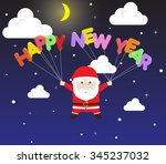 santa claus holding colorful... | Shutterstock .eps vector #345237032