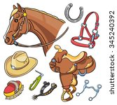 western riding tack... | Shutterstock .eps vector #345240392