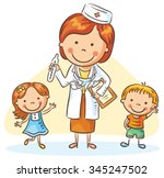 cartoon doctor with happy... | Shutterstock .eps vector #345247502
