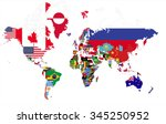 political map of the world with ... | Shutterstock .eps vector #345250952