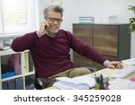 using telephone during the... | Shutterstock . vector #345259028