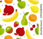cartoon fresh fruits in flat... | Shutterstock .eps vector #345268496