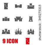 vector grey castle icon set. | Shutterstock .eps vector #345275315