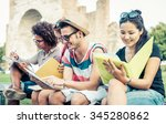 group of students studying... | Shutterstock . vector #345280862