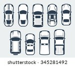 vector set of cars   top view | Shutterstock .eps vector #345281492
