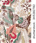 floral vector seamless pattern | Shutterstock .eps vector #345282782