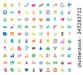gardening 100 icons set for web ... | Shutterstock .eps vector #345283712