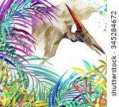 dinosaur watercolor. dinosaur ... | Shutterstock . vector #345284672