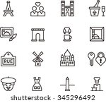 paris set of outline icons | Shutterstock .eps vector #345296492