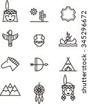 indian set of outline icons   Shutterstock .eps vector #345296672