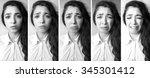 emotional beautiful young woman ... | Shutterstock . vector #345301412