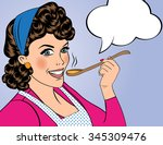 pop art retro woman with apron... | Shutterstock .eps vector #345309476