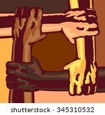 arms different race and skin... | Shutterstock .eps vector #345310532