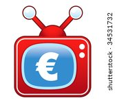 Euro currency icon on retro television set - stock vector