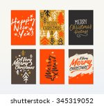christmas six  sides poster or... | Shutterstock .eps vector #345319052