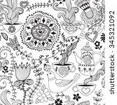 vector flower pattern. black...   Shutterstock .eps vector #345321092
