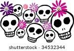 skulls and daisies | Shutterstock .eps vector #34532344