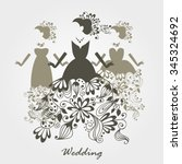 Set Of Silhouettes Of Wedding...