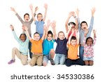 group of children posing with... | Shutterstock . vector #345330386