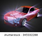 transparent car concept with... | Shutterstock . vector #345332288