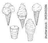 vector sketch set of ice cream | Shutterstock .eps vector #345343286