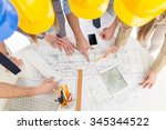 top view of four successful... | Shutterstock . vector #345344522