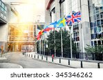 waving flags in front of... | Shutterstock . vector #345346262