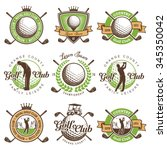 set of vintage golf emblems... | Shutterstock .eps vector #345350042