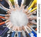 arms hands circle team unity... | Shutterstock . vector #345353492