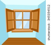 Cartoon Wooden Window   Vector...