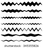set of wavy zigzag lines in... | Shutterstock .eps vector #345355826