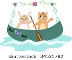 canoe with rabbit and cat... | Shutterstock .eps vector #34535782