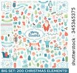 merry christmas decoration... | Shutterstock .eps vector #345365375