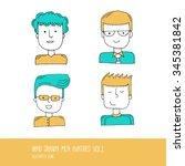 set of hand drawn flat line... | Shutterstock .eps vector #345381842