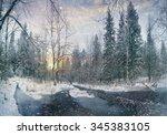 winter landscape frozen creek... | Shutterstock . vector #345383105