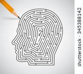 Stock vector maze in the shape of a human head in pencil vector illustration 345388142
