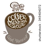 coffee fresh and hot quote in... | Shutterstock .eps vector #345404072