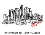 los angeles view. city... | Shutterstock .eps vector #345406805