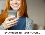 cropped image of a smiling... | Shutterstock . vector #345409262
