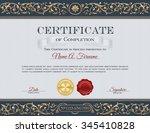 vintage certificate of... | Shutterstock .eps vector #345410828