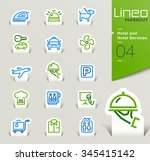 lineo papercut   hotel and... | Shutterstock .eps vector #345415142